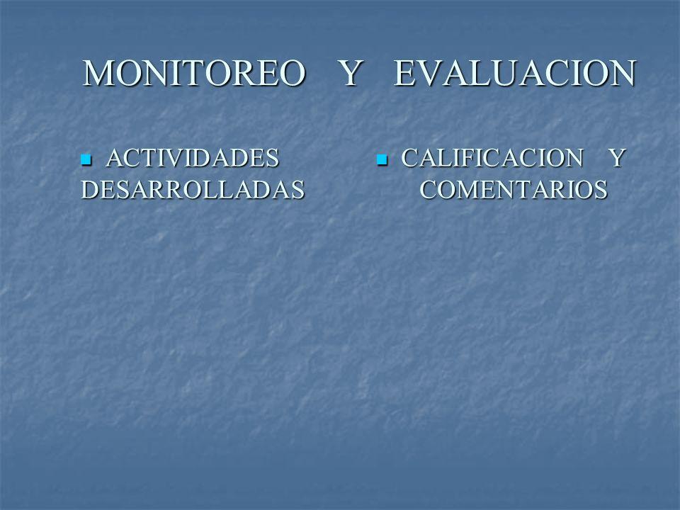 MONITOREO Y EVALUACION MONITOREO Y EVALUACION CALIFICACION Y COMENTARIOS CALIFICACION Y COMENTARIOS ACTIVIDADES DESARROLLADAS ACTIVIDADES DESARROLLADA