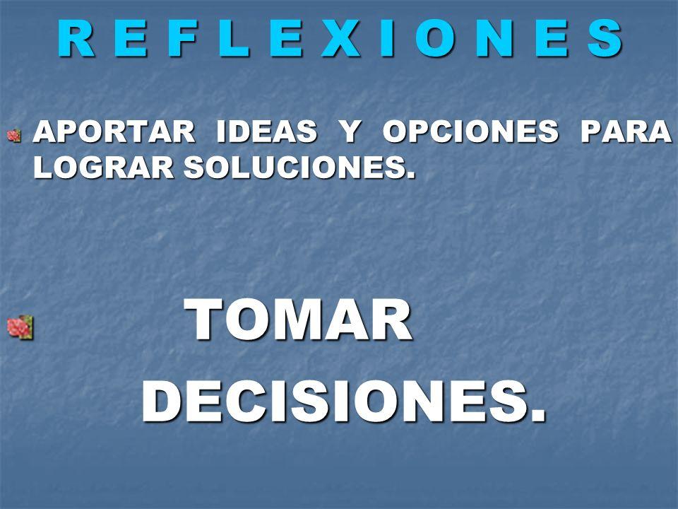 R E F L E X I O N E S APORTAR IDEAS Y OPCIONES PARA LOGRAR SOLUCIONES. TOMAR TOMAR DECISIONES. DECISIONES.