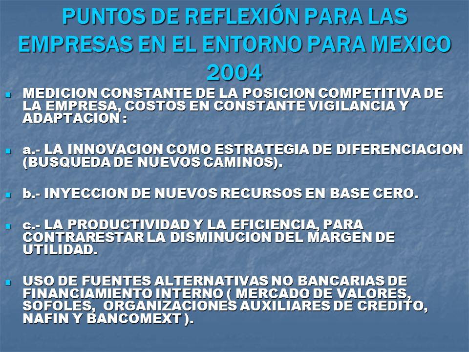 PUNTOS DE REFLEXIÓN PARA LAS EMPRESAS EN EL ENTORNO PARA MEXICO 2004 MEDICION CONSTANTE DE LA POSICION COMPETITIVA DE LA EMPRESA, COSTOS EN CONSTANTE