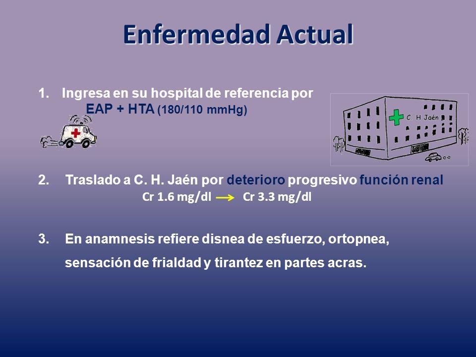 Enfermedad Actual Cr 1.6 mg/dlCr 3.3 mg/dl 1.Ingresa en su hospital de referencia por EAP + HTA (180/110 mmHg) 2.Traslado a C. H. Jaén por deterioro p