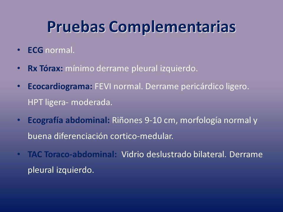 Pruebas Complementarias ECG normal. Rx Tórax: mínimo derrame pleural izquierdo. Ecocardiograma: FEVI normal. Derrame pericárdico ligero. HPT ligera- m