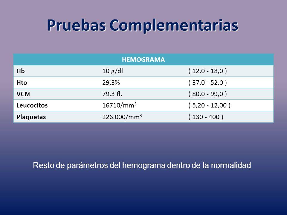 Pruebas Complementarias HEMOGRAMA Hb10 g/dl( 12,0 - 18,0 ) Hto29.3%( 37,0 - 52,0 ) VCM79.3 fl.( 80,0 - 99,0 ) Leucocitos16710/mm 3 ( 5,20 - 12,00 ) Pl