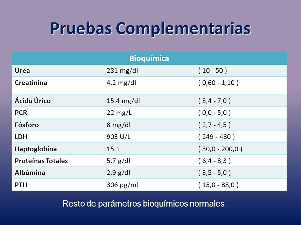 Bioquímica Urea281 mg/dl( 10 - 50 ) Creatinina4.2 mg/dl( 0,60 - 1,10 ) Ácido Úrico15.4 mg/dl( 3,4 - 7,0 ) PCR22 mg/L( 0,0 - 5,0 ) Fósforo8 mg/dl( 2,7