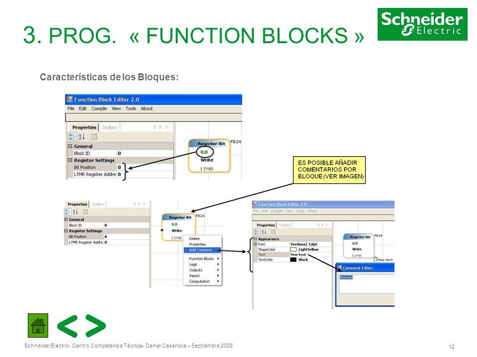Schneider Electric 12 - Centro Competencia Técnica- Daniel Casanova – Septiembre 2009 3. PROG. « FUNCTION BLOCKS » Características de los Bloques: