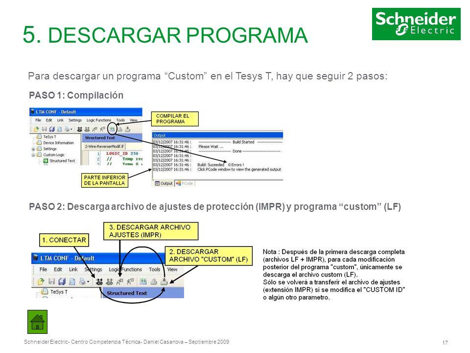 Schneider Electric 17 - Centro Competencia Técnica- Daniel Casanova – Septiembre 2009 5. DESCARGAR PROGRAMA Para descargar un programa Custom en el Te