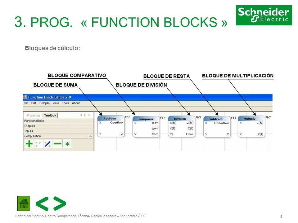 Schneider Electric 9 - Centro Competencia Técnica- Daniel Casanova – Septiembre 2009 3. PROG. « FUNCTION BLOCKS » Bloques de cálculo: