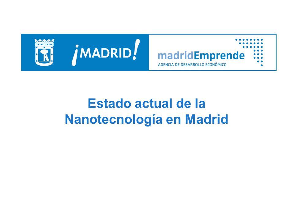 Estado actual de la Nanotecnología en Madrid 6.- Empresas Sector Materiales TOLSA Nanoarcillas MOLDEO Y DISEÑO Nanofibras de carbono PLASTIC OMNIUM Nanofibras de carbono ACCIONA INFRAESTRUCTURAS Materiales de construcción EADS CASA I+D aplicada a sus productos AIRBUS I+D aplicada a sus productos GRUPO SPA Microclimatización del soldado, nariz virtual REPSOL YPF Polímeros Sector Electrónico NANOTEC ELECTRÓNICA Microscopios.