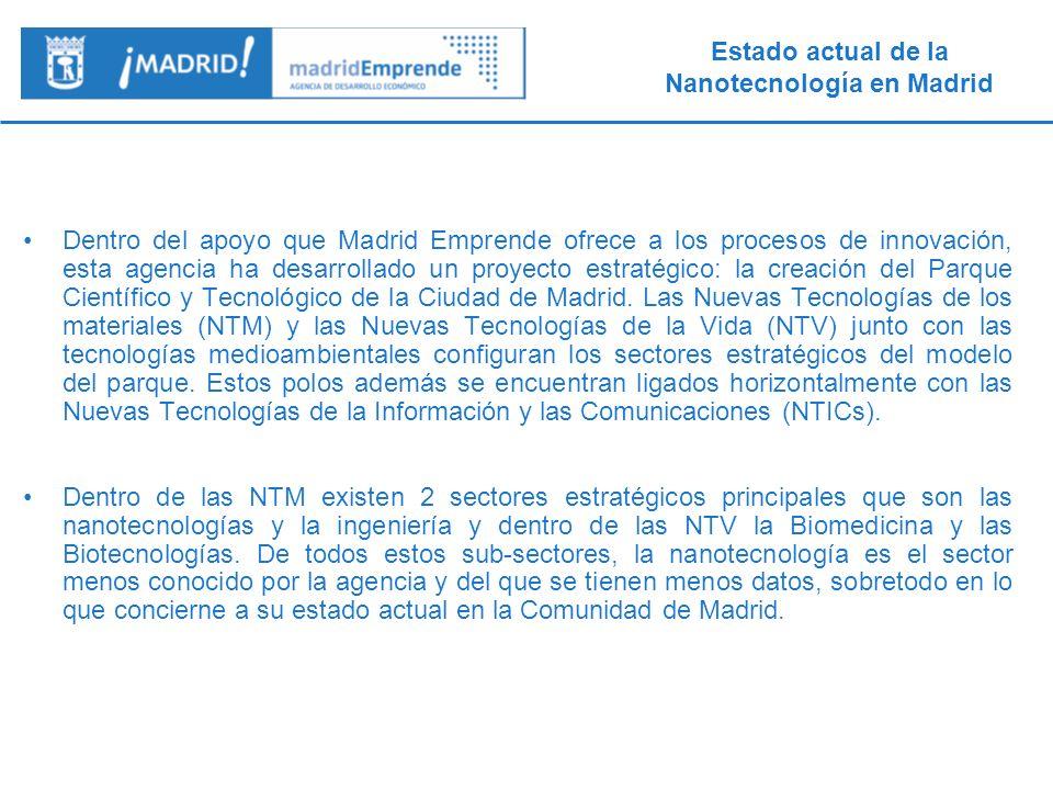 Estado actual de la Nanotecnología en Madrid 7.- Análisis cruzado: por organismos Los principales actores son centros de I+D públicos y grandes empresas: hay muy pocas PYMEs, Spin-off y centros tecnológicos.
