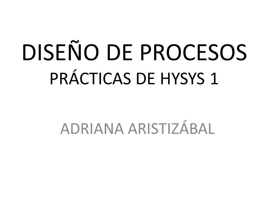 DISEÑO DE PROCESOS PRÁCTICAS DE HYSYS 1 ADRIANA ARISTIZÁBAL