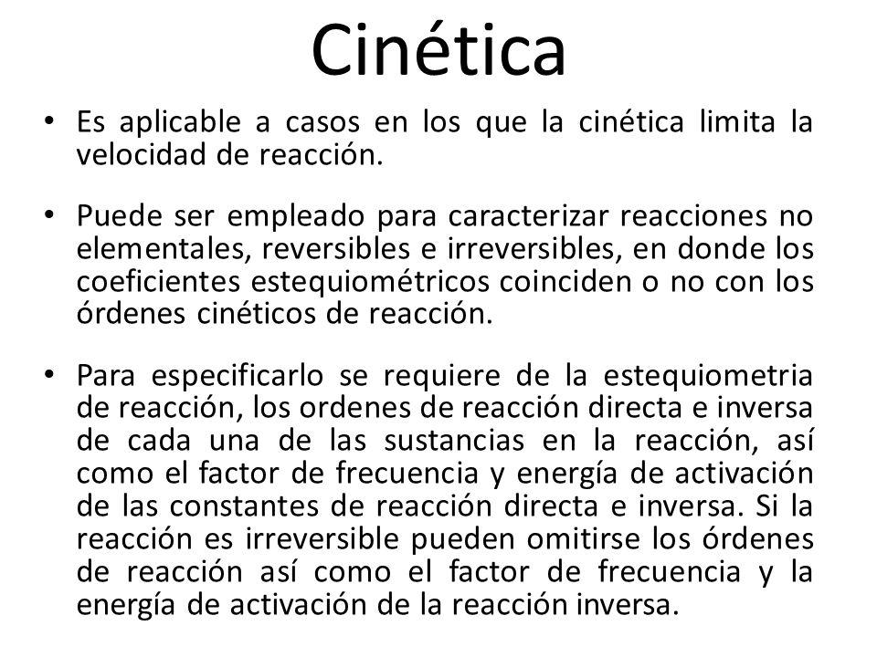 Cinética Es aplicable a casos en los que la cinética limita la velocidad de reacción. Puede ser empleado para caracterizar reacciones no elementales,