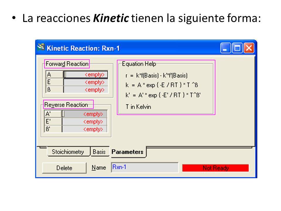La reacciones Kinetic tienen la siguiente forma: