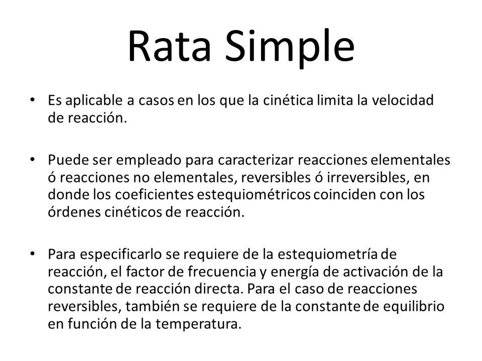 Rata Simple Es aplicable a casos en los que la cinética limita la velocidad de reacción. Puede ser empleado para caracterizar reacciones elementales ó