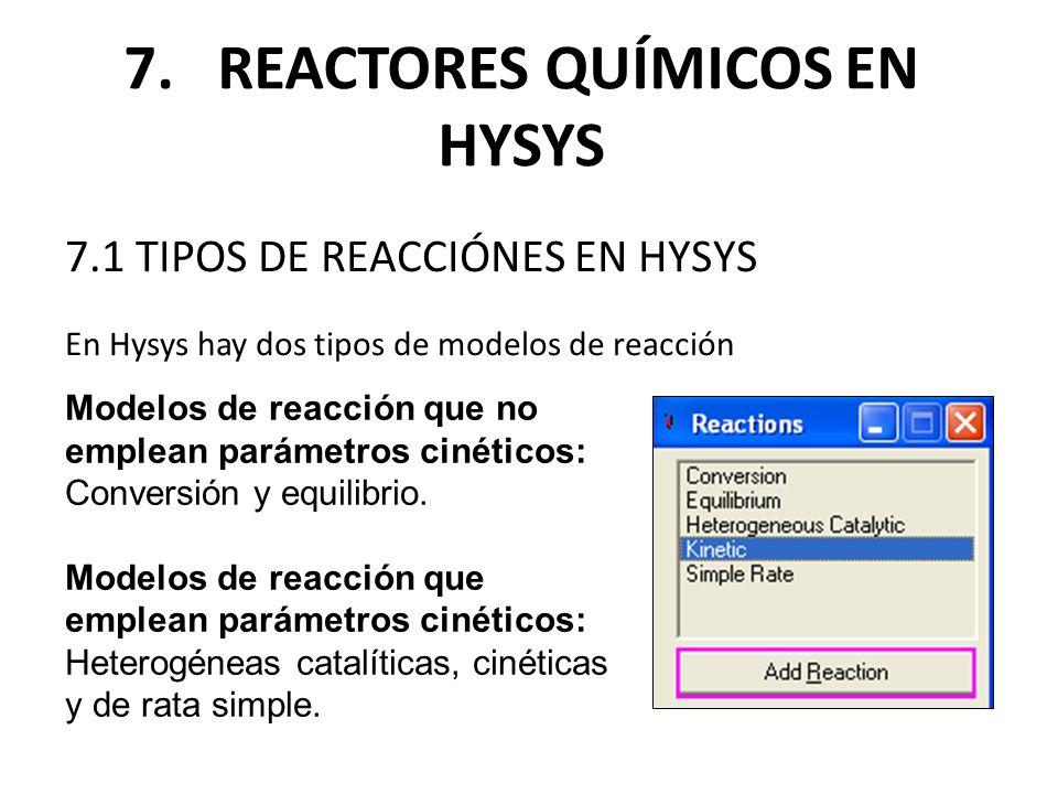 7.1 TIPOS DE REACCIÓNES EN HYSYS En Hysys hay dos tipos de modelos de reacción 7. REACTORES QUÍMICOS EN HYSYS Modelos de reacción que no emplean parám