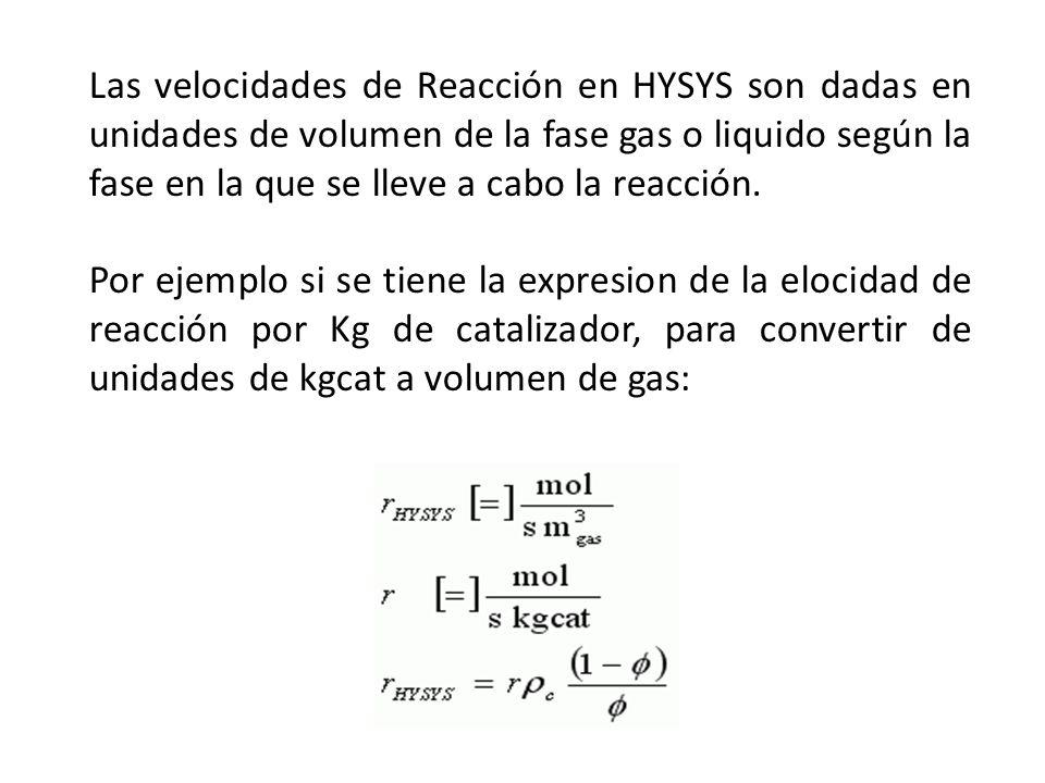 Las velocidades de Reacción en HYSYS son dadas en unidades de volumen de la fase gas o liquido según la fase en la que se lleve a cabo la reacción. Po