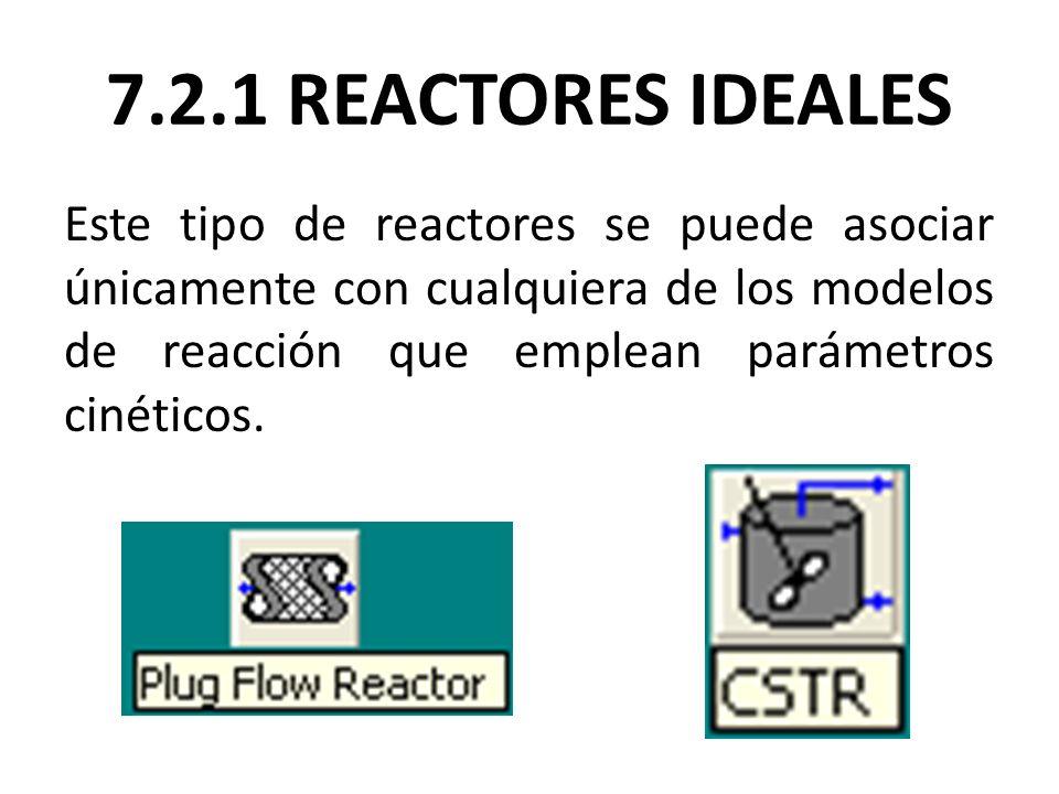 7.2.1 REACTORES IDEALES Este tipo de reactores se puede asociar únicamente con cualquiera de los modelos de reacción que emplean parámetros cinéticos.