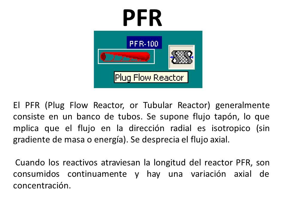 El PFR (Plug Flow Reactor, or Tubular Reactor) generalmente consiste en un banco de tubos. Se supone flujo tapón, lo que mplica que el flujo en la dir