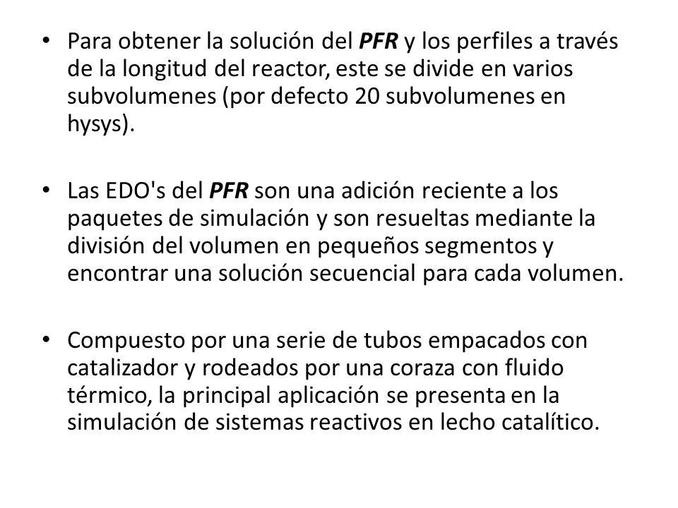 Para obtener la solución del PFR y los perfiles a través de la longitud del reactor, este se divide en varios subvolumenes (por defecto 20 subvolumene