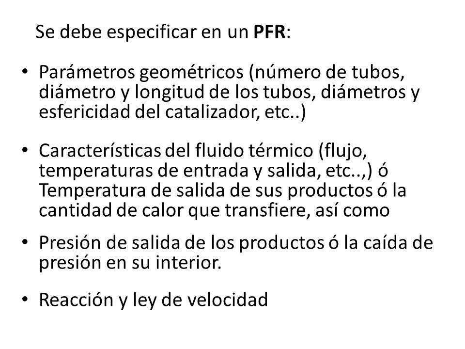 Se debe especificar en un PFR: Parámetros geométricos (número de tubos, diámetro y longitud de los tubos, diámetros y esfericidad del catalizador, etc