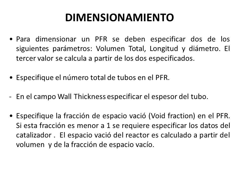 DIMENSIONAMIENTO Para dimensionar un PFR se deben especificar dos de los siguientes parámetros: Volumen Total, Longitud y diámetro. El tercer valor se