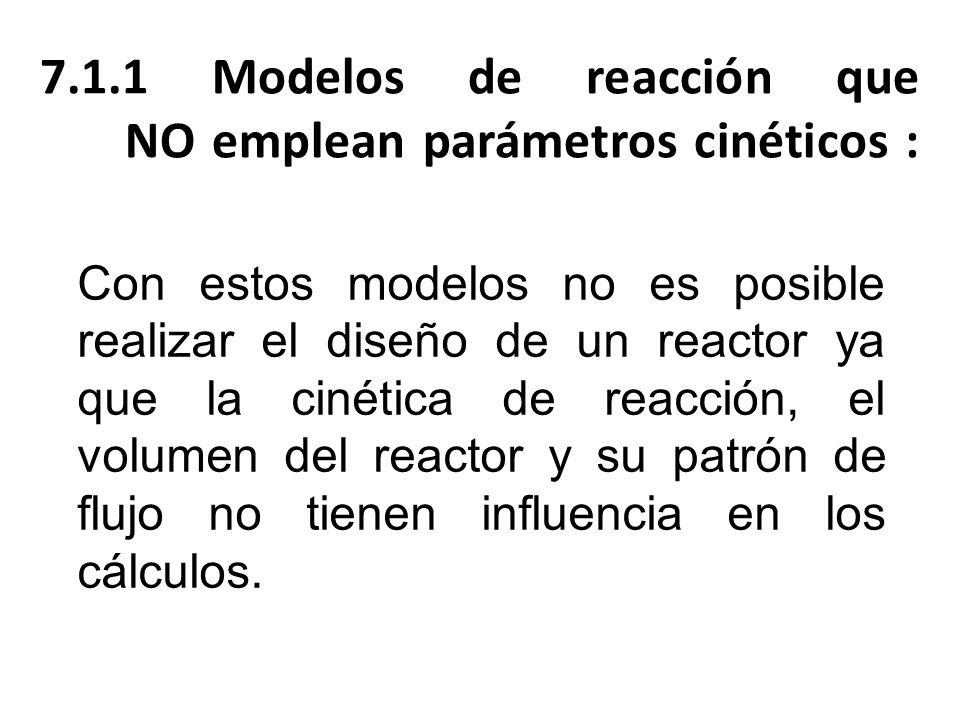 Con estos modelos no es posible realizar el diseño de un reactor ya que la cinética de reacción, el volumen del reactor y su patrón de flujo no tienen