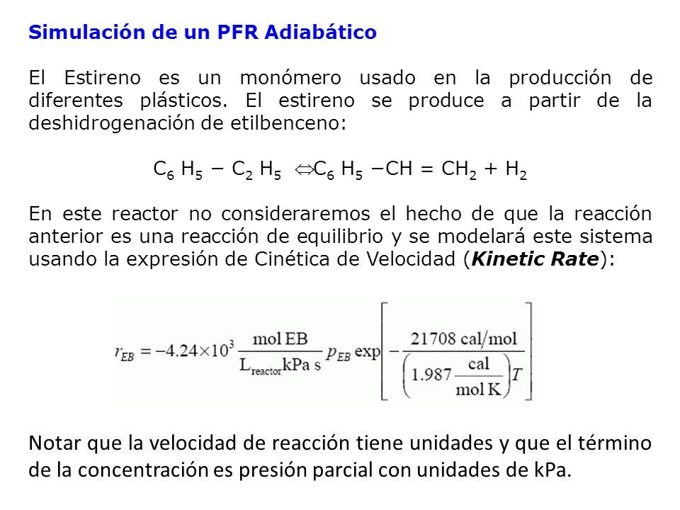 Simulación de un PFR Adiabático El Estireno es un monómero usado en la producción de diferentes plásticos. El estireno se produce a partir de la deshi