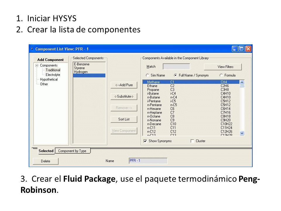 1. Iniciar HYSYS 2. Crear la lista de componentes 3. Crear el Fluid Package, use el paquete termodinámico Peng- Robinson.