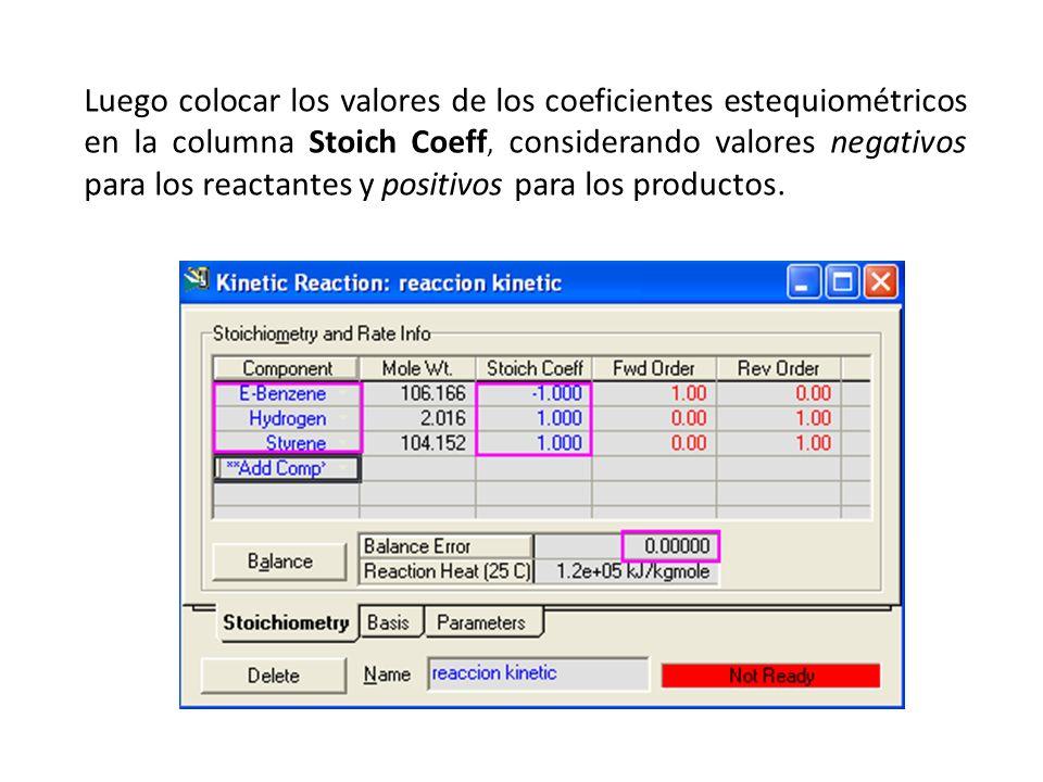 Luego colocar los valores de los coeficientes estequiométricos en la columna Stoich Coeff, considerando valores negativos para los reactantes y positi