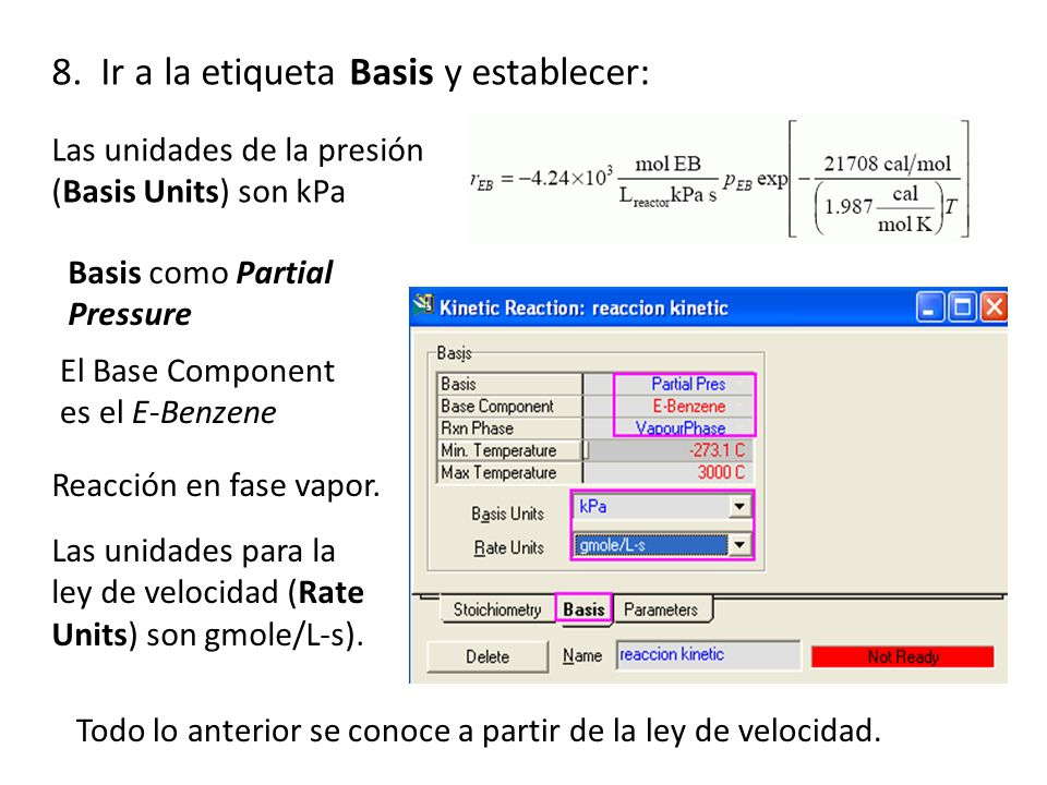 8. Ir a la etiqueta Basis y establecer: Todo lo anterior se conoce a partir de la ley de velocidad. Las unidades para la ley de velocidad (Rate Units)