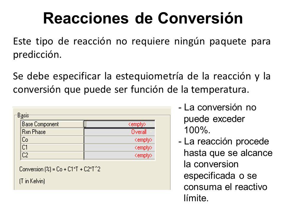 Este tipo de reacción no requiere ningún paquete para predicción. Se debe especificar la estequiometría de la reacción y la conversión que puede ser f