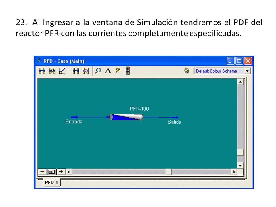 23. Al Ingresar a la ventana de Simulación tendremos el PDF del reactor PFR con las corrientes completamente especificadas.