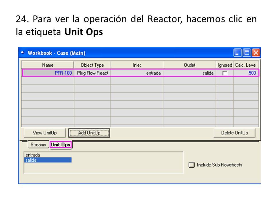 24. Para ver la operación del Reactor, hacemos clic en la etiqueta Unit Ops