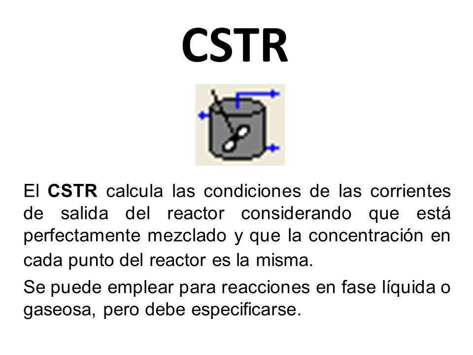 CSTR El CSTR calcula las condiciones de las corrientes de salida del reactor considerando que está perfectamente mezclado y que la concentración en ca