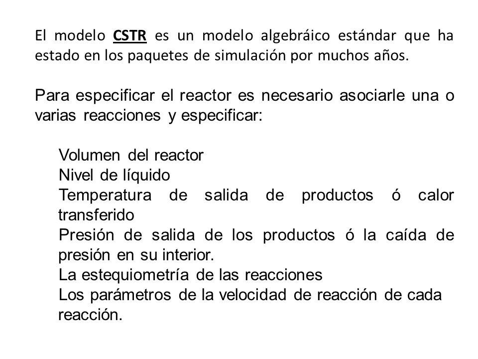 El modelo CSTR es un modelo algebráico estándar que ha estado en los paquetes de simulación por muchos años. Para especificar el reactor es necesario