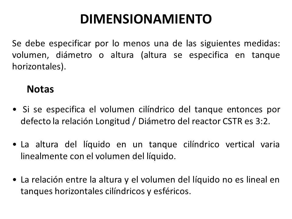 DIMENSIONAMIENTO Se debe especificar por lo menos una de las siguientes medidas: volumen, diámetro o altura (altura se especifica en tanque horizontal