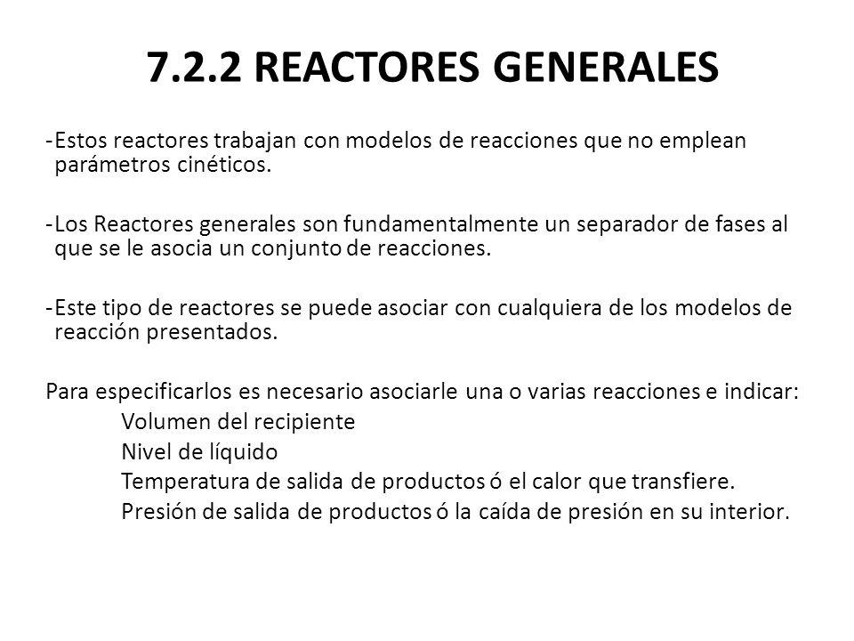 7.2.2 REACTORES GENERALES -Estos reactores trabajan con modelos de reacciones que no emplean parámetros cinéticos. -Los Reactores generales son fundam