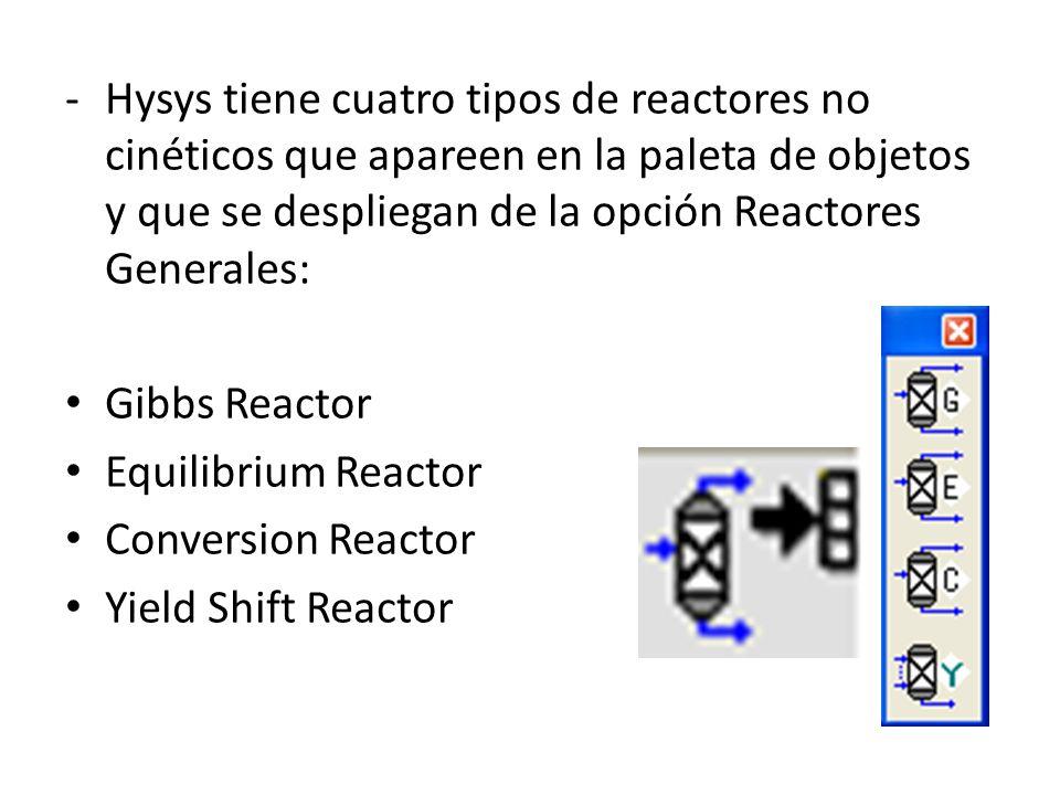 -Hysys tiene cuatro tipos de reactores no cinéticos que apareen en la paleta de objetos y que se despliegan de la opción Reactores Generales: Gibbs Re