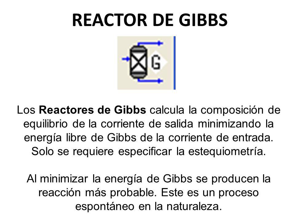 REACTOR DE GIBBS Los Reactores de Gibbs calcula la composición de equilibrio de la corriente de salida minimizando la energía libre de Gibbs de la cor