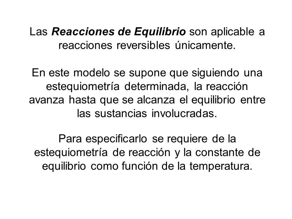 Las Reacciones de Equilibrio son aplicable a reacciones reversibles únicamente. En este modelo se supone que siguiendo una estequiometría determinada,