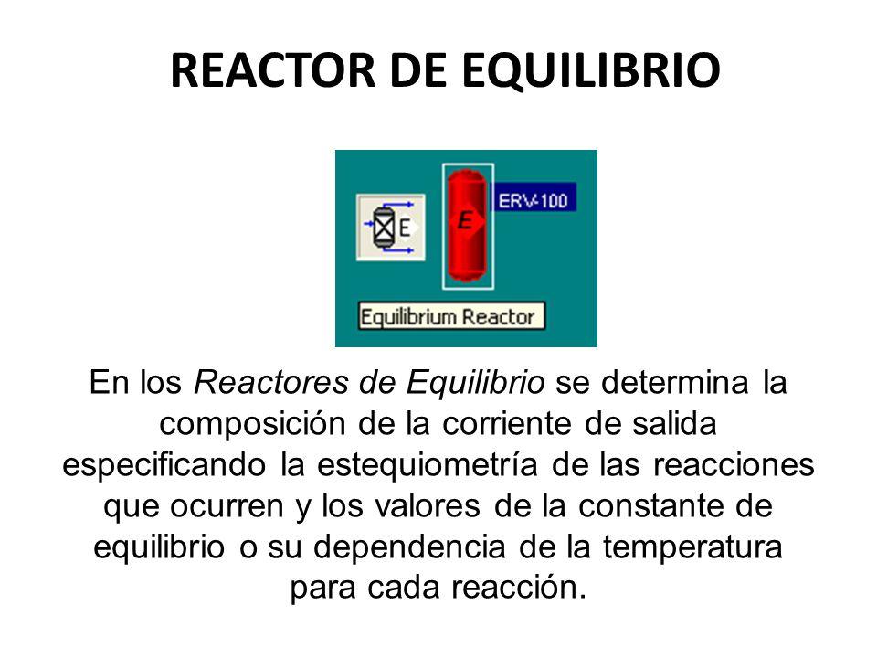 REACTOR DE EQUILIBRIO En los Reactores de Equilibrio se determina la composición de la corriente de salida especificando la estequiometría de las reac