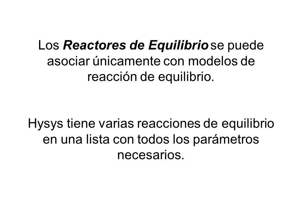 Los Reactores de Equilibrio se puede asociar únicamente con modelos de reacción de equilibrio. Hysys tiene varias reacciones de equilibrio en una list