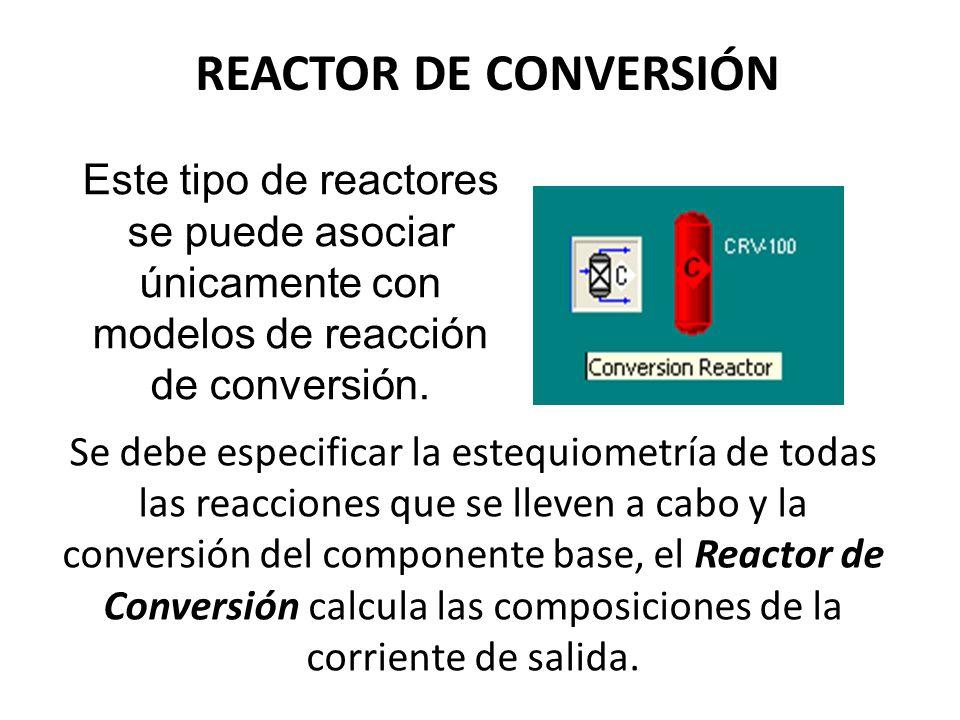 REACTOR DE CONVERSIÓN Este tipo de reactores se puede asociar únicamente con modelos de reacción de conversión. Se debe especificar la estequiometría