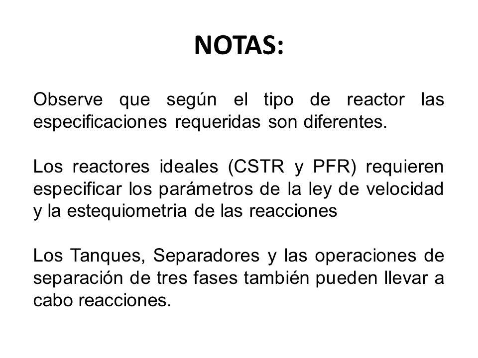 Observe que según el tipo de reactor las especificaciones requeridas son diferentes. Los reactores ideales (CSTR y PFR) requieren especificar los pará