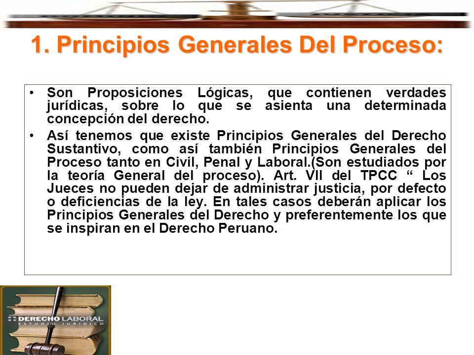1. Principios Generales Del Proceso: Son Proposiciones Lógicas, que contienen verdades jurídicas, sobre lo que se asienta una determinada concepción d