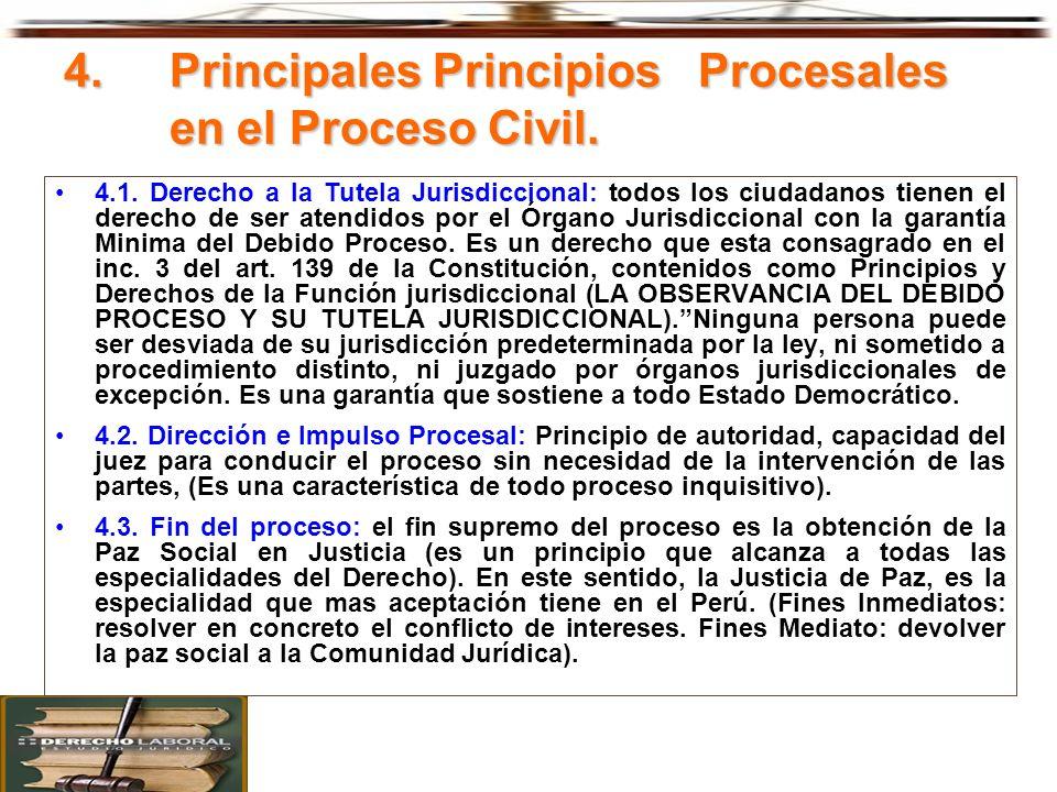 4. Principales Principios Procesales en el Proceso Civil. 4.1. Derecho a la Tutela Jurisdiccional: todos los ciudadanos tienen el derecho de ser atend