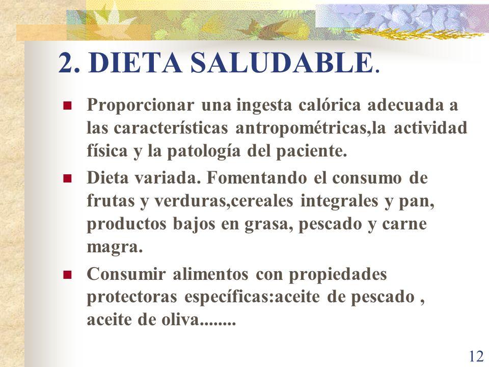 12 2. DIETA SALUDABLE. Proporcionar una ingesta calórica adecuada a las características antropométricas,la actividad física y la patología del pacient