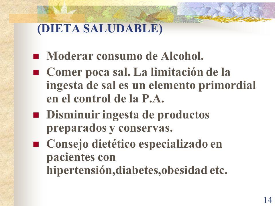 14 (DIETA SALUDABLE) Moderar consumo de Alcohol. Comer poca sal. La limitación de la ingesta de sal es un elemento primordial en el control de la P.A.