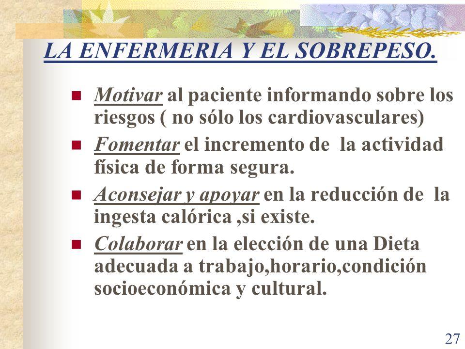 27 LA ENFERMERIA Y EL SOBREPESO. Motivar al paciente informando sobre los riesgos ( no sólo los cardiovasculares) Fomentar el incremento de la activid