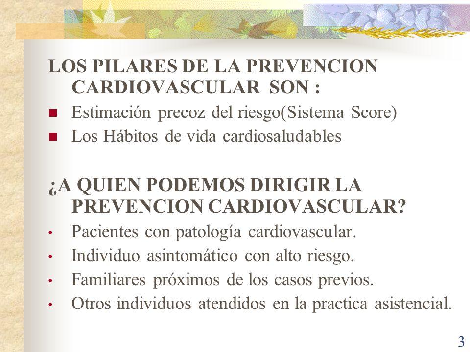 3 LOS PILARES DE LA PREVENCION CARDIOVASCULAR SON : Estimación precoz del riesgo(Sistema Score) Los Hábitos de vida cardiosaludables ¿A QUIEN PODEMOS