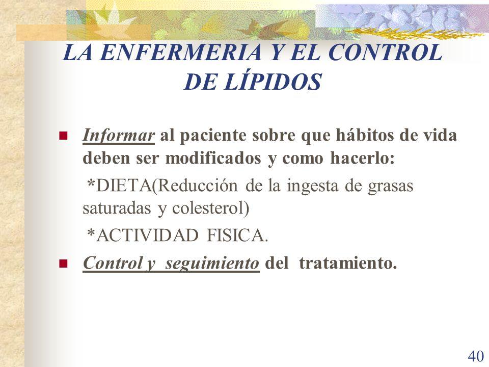 40 LA ENFERMERIA Y EL CONTROL DE LÍPIDOS Informar al paciente sobre que hábitos de vida deben ser modificados y como hacerlo: *DIETA(Reducción de la i