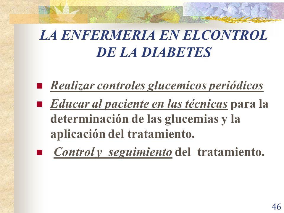 46 LA ENFERMERIA EN ELCONTROL DE LA DIABETES Realizar controles glucemicos periódicos Educar al paciente en las técnicas para la determinación de las